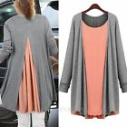 Fashion Women Knitting False Two Piece Chiffon Cardigan Coat Outwear Plus Size