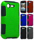 For Verizon LG Optimus Zone 2 MESH Hybrid Silicone Rubber Skin Case Phone Cover