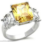 Yellow Topaz & Clear Side CZ Stones Silver Rhodium EP Ladies Ring