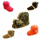 Ladies Warm Leopard Print / Neon Bright Hairy / Duffle Toggle Slipper Boots 3- 8