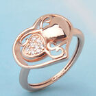 Romantic 18K rose gold filled Swarovski crystal heart shape ring Sz6/M-Sz8/Q