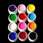 12 Mix Color Solid Pure Glitter Gel Acrylic Set UV Builder Nail Art Decor Kit