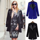 Fashion Ladies Long Warm PU Leather Sleeve Jacket coat Parka Trench Windbreaker