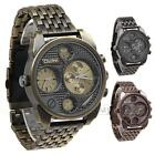 Quartz Wrist Watch Stainless Steel Band Double Movements Dials for Men