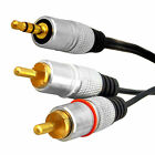 3.5mm Stereo Audio Jack to 2 x RCA Twin Phono Plug OFC Cable 1M 1.5M 1.8M 2M 3M