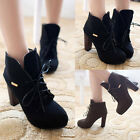 Womens Lace Up Faux Leather Fashion Casual Martin Chunky High Heels Ankle Boots