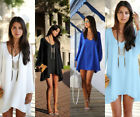 Lady's Sexy V neck Strapless A-Line Cutout Sleeve Casual Top Chiffon Party Dress