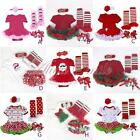 New 4PCS Newborn Baby Girls Christmas Part Holiday Costume Romper Jumpsuit 0-12M