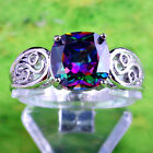 Stylish Elegant Modern Rainbow Topaz Gemstone Silver Rings Size 6 7 8 9 10 11 12