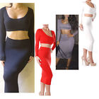 Lady's Crop Tops High Waisted Skirt Set Bodycon Bandage Club Party Evening Dress