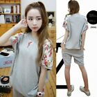 2pcs Set Grey Crew Neck Top Shorts Pockets Womens Tracksuit Athletic Sport Suit