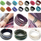 Slake Braid Rhinestone Waterfall Suede Leather Bracelet Wrap Streamline Effect