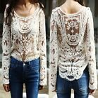 Semi Sheer Women Sleeve Embroidery Floral Lace Crochet T-Shirt Top Blouse Hot