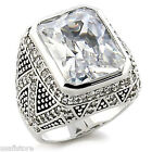 Ladies Large  Rectangle Stone 15.29ct White Gold Plated Ring