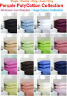 Plain Dyed Fitted Sheets PolyCotton Percale Bed Sheet Single Double King S.King