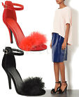 Ladies Womens High Heel Peep Open Fluffy Toe Ankle Strap Sandals Shoes Size