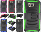 For Samsung Galaxy Alpha G850 Combo Holster Hard HYBRID KICK STAND Rubber Case