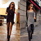 Women Long Sleeve New Fashion Simple Dovetail Irregular Asymmetric Dress Sexy
