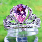 Elegant Wedding Water-Drop Pink Topaz Gemstones Silver Rings Size 6 7 8 9 10 11