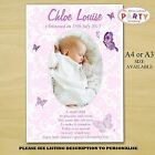 Personalised Girls Christening Baptism Party PHOTO Poster N13. A4 or A3 Size