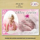 Personalised Girls Christening Baptism Party PHOTO Poster N21. A4 or A3 Size
