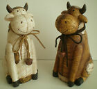 NEW LEATHER EFFECT COW ORNAMENT - LOVELY CUTE DESIGN 13083
