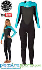 Rip Curl Omega 3/2mm Womens Full Wetsuit - Black/Blue Flatlock Seams