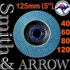 "125mm 5"" FLAP DISCS WHEELS ZIRCONIA ANGLE GRINDER METAL STEEL SANDING 40 60 80 #"