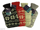 Nordic Fairisle Hot Water Bottle With Knitted Cover, Thermotherapy Winter Gift
