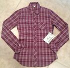 AUTHENTIC TRUE RELIGION Shirt PLAID WOVEN Long Sleeve BURGUNDY Size XS M NEW