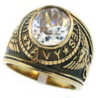 Mens US Navy Clear Stone Military 18kt Gold Plated Stainless Steel Ring