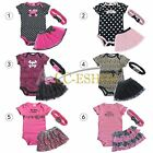 3pcs Newborn Infant Baby Girl Headband+ Romper +TUTU Dress Skirt Outfits Clothes