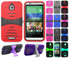 For HTC Desire 510 Hard Gel Rubber KICKSTAND Case Phone Cover + Screen Guard