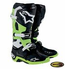 Alpinestars Tech 10 Boots Green Black Motocross Motorcycle Mx w/ Moto Bracelet