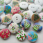 E644 Santa Christmas Tree Wood Buttons 20mm Sewing Mix Lots 10/50/100/500pcs