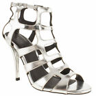 SCHUH WOMENS SILVER MAN MADE CAGED HIGH HEELS SHOES