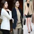 NEW Womens One Button Shrug Small Suits Sleeve Blazer Jacket Black White
