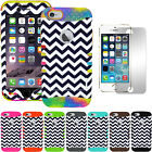 """Case for iPhone 6 4.7"""" Hybrid Cover Navy Blue Chevron Waves + Screen Protector"""