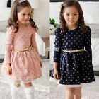 Buttons  Long Sleeve Princess Dress With Belt Ages 3 - 11Y Girls 5 sizes EA