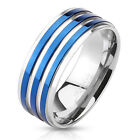 316L Stainless Steel Men's Blue Striped Band Ring Size 9-13