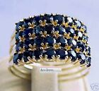 14k Gold & Sapphire Turkish Harem Ring 4 Band 8 Gems Per Band  FREE Ship To All