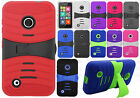 For Nokia Lumia 530 HYBRID Hard Gel Rubber KICKSTAND Case Cover +Screen Guard