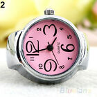 Women New Stunning Steel Round Dial Quartz Analog Finger Watch Cute Ring Elastic