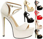 Ladies High Stiletto Heels Suede Platform Womens Open Toe Strappy Shoes Size 3-8