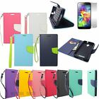 Wallet Style Flip Case Leather Credit Card Holder Cover Magnetic Clasp +Film