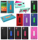 For ZTE ZMAX Z970 IMPACT Hard Rubber Case Phone Cover Kickstand + Screen Guard