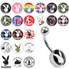 Surgical Steel Licensed PlayBoy Bunny Logo Inlay Belly Button Navel Ring