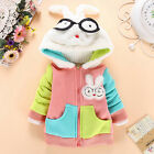 Kids Girl Warm Clothing Colorful Rabbit Costume Cotton Stereo Hooded Jacket
