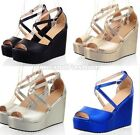 Ladies Satin Peep Toe Cross Strap Platform Wedge Sandals Shoes Plus Size B-4