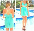 Women Short Holiday Summer Beach Dress Gold Bling Strap Ball V Neck Chiffon New